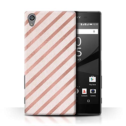 (eSwish Phone Case/Cover for Sony Xperia Z5/5.2 / Classic Diagonal Stripes Design/Rose Gold Pink Fashion Trend Collection)