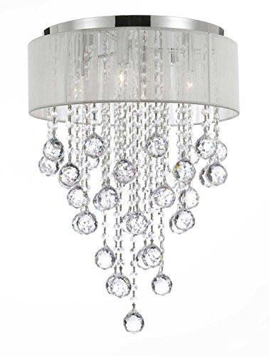 Flushmount 4-light Chrome and White Shade Crystal Chandelier Chandeliers Lighting For Sale