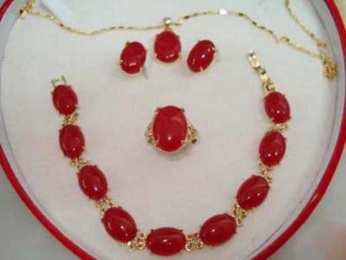 FidgetFidget Women Jewelry Set Gold Plated Natural Red Jade Pendant+Breacelet+Earring+Ring Red -