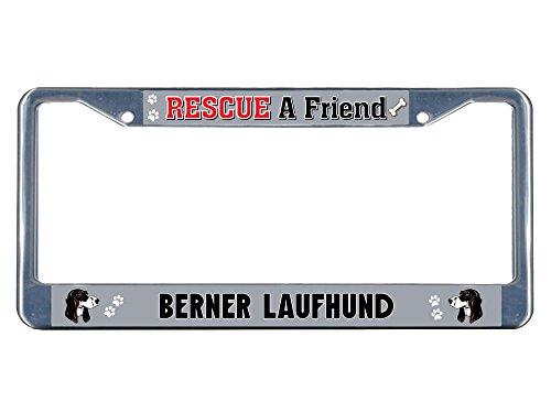 Price comparison product image Berner Laufhund Dog Rescue a Friend Chrome Metal License Plate Frame Tag Border