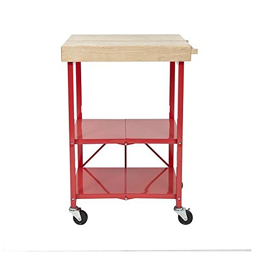 Origami Foldable Kitchen Island Cart - Red