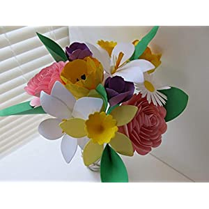 Mother's Day Bouquet, Spring Paper Flower Mix on Stems, Daffodil, Easter Lily, Crocus, Daisy, Rose, Tulip, Floral Arrangement 10