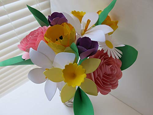 - Mother's Day Bouquet, Spring Paper Flower Mix on Stems, Daffodil, Easter Lily, Crocus, Daisy, Rose, Tulip, Floral Arrangement