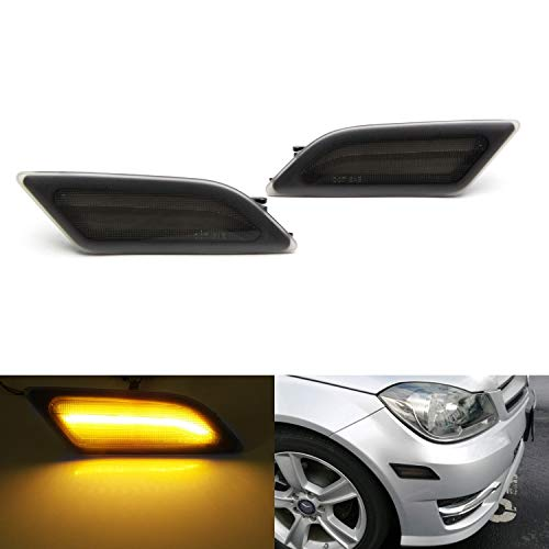 iJDMTOY Smoked Lens Amber Full LED Front Side Marker Light Kit For 2012-14 MercedesW204 LCI C250 C300 C350 Sedan/Coupe, Powered by SMD LED, Replace OEM Sidemarker Lamps ()