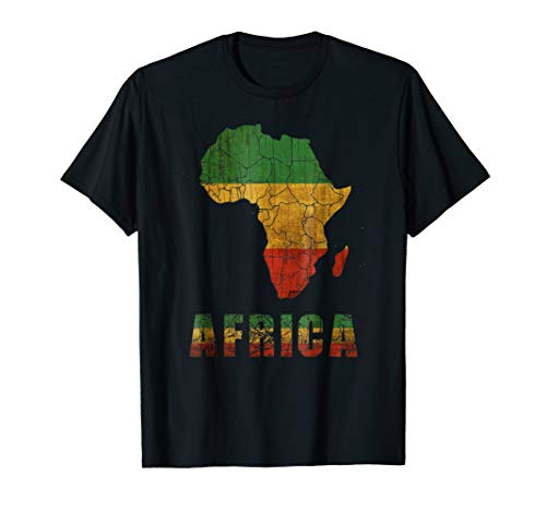 Africa T shirt Continent with reggae Flag Afro American ()