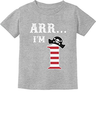 ARR I'm 1 - Pirate Birthday Party Gift for One Year Old Infant Kids T-Shirt 18M Gray -