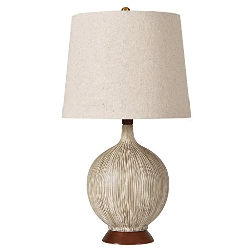 Great St. European Ceramic Desk Lamp, Coconut Shape, Solid Wood Lamp Holder, Linen Fabric Shade, Bedroom Living Room Personalized Decorative Table Lamp ()