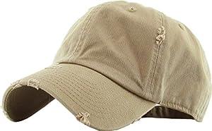 KBETHOS Vintage Washed Distressed Cotton Dad Hat Baseball Cap Adjustable Polo Style