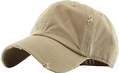 (KBETHOS Vintage Washed Distressed Cotton Dad Hat Baseball Cap Adjustable Polo Trucker Unisex Style Headwear (Vintage) Khaki Adjustable)