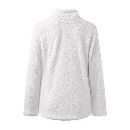 Veste l Eu Pulls Top Taille Sweat Couleur Longues À D'hiver Blanc cn Polaire Manches Noir 40 Femmes Chaud coloré Zipper Manteaux Unie Tops Blouse Outwear 6nxROOfEg