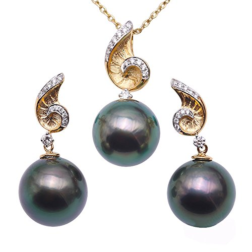 JYX Pearl Tahitian Jewelry Set 11mm Round Peacock-green Pearl Pendant and Stud Earring 18K Gold