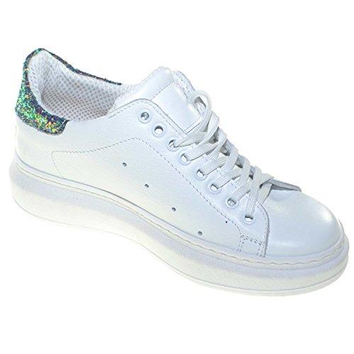 Green Con Bassa Linea Sneakers Glitter Donna Vera Comfort Queen In Bianca Fondo Alto Pelle Trendy Basic Fortino Bianco xYHqHwzdR