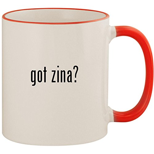got zina? - 11oz Ceramic Colored Handle & Rim Coffee Mug Cup, Red ()