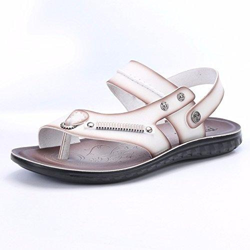 Estate uomini sandali spiaggia scarpa uomini gioventù Soft bottom non-slip tempo libero dual use sandali scarpa uomini marea scarpe, bianco, UK = 8,5, EU = 42 2/3