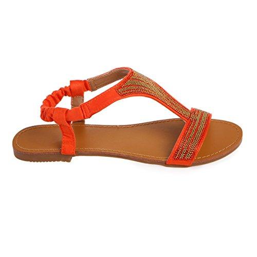 Femme Orange Sandales Daim Modeuse pour Simili La en CRAWOz