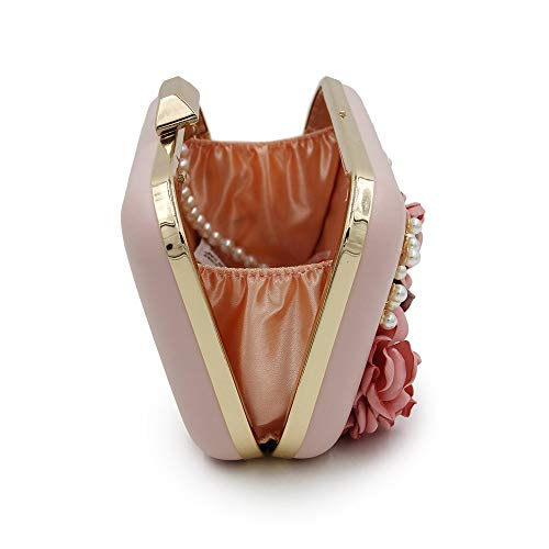 Sac Soirée couleur Perles Rose Portable Pochette À De Chaînes Avec Bourse Blanc Bandoulière En Pour Asdflina Mariage Femme Main PqpSHHxw