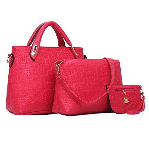Win8fong Womens Crocodile Skin Table Three-game Bags Handbag Inclined Vein To Canvas Shoulder Bag Rosepink