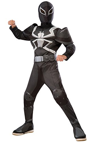 Venom Costumes For Men (Rubie's Costume Spider-Man Ultimate Deluxe Child Agent Venom Deluxe Costume, Medium)