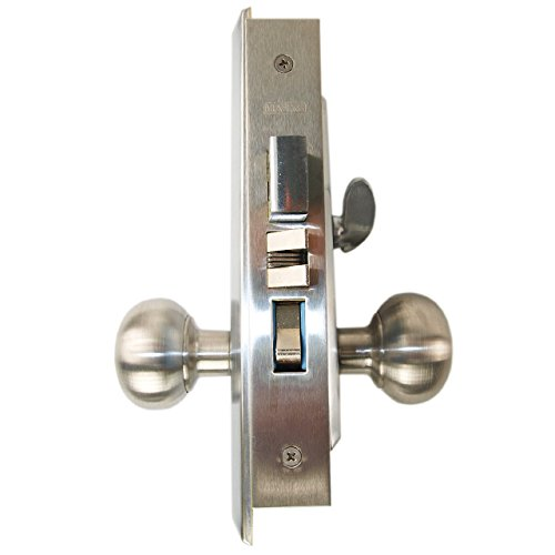 Marks New Yorker 7NY10A/26D, Satin Chrome US26D Left Hand Mortise Entry Lock Set, Screwless Knobs Thru-Bolted Lockset (LEFT-HANDED)