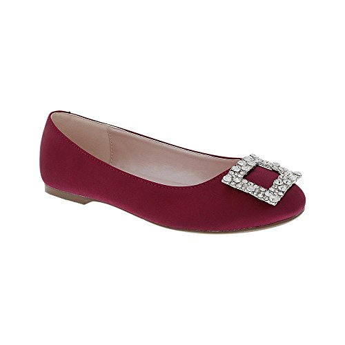 De Blossom Collection Womens Dressy Party Satin Round Toe Dress Ballet Flat With Rhinestone Embellished Buckle Purple Z264Lz