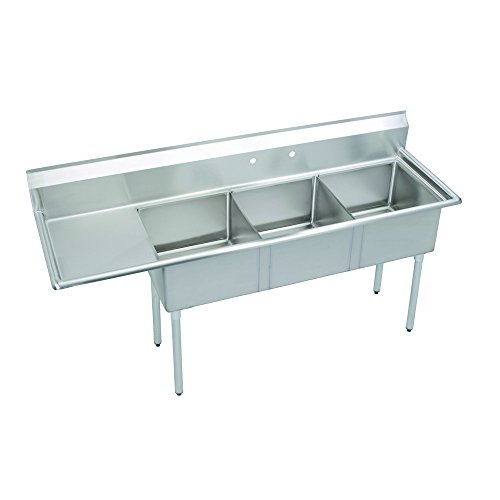 Fenix Sol 18G-3C16X20-L18 Three Compartment Stainless Steel Sink, Bowl: 16''L x 20''W x 12''D, Overall Size: 68.5''L x 25.5''W x 43.75''H, 1 x 18'' Left Drainboard, Galv Legs by Fausett International