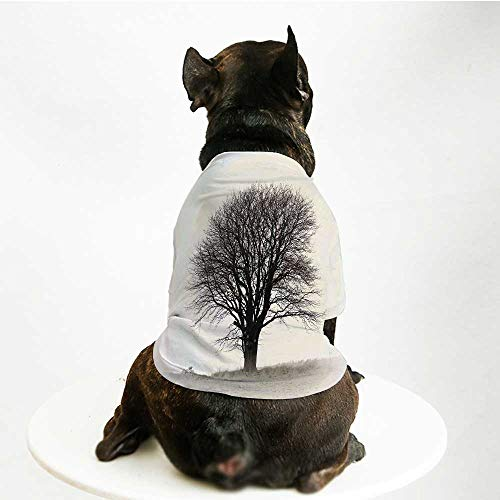 YOLIYANA Black and White Warm Pet Suit,Lonely Tree in Field with Many Leafless Branches Countryside Vintage for Pet Dogs,S