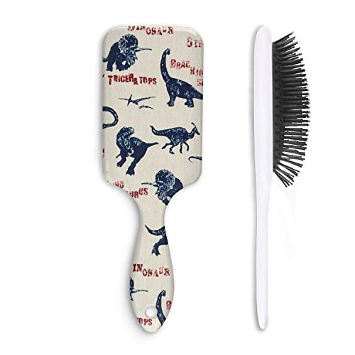 Hair Brush school days T-REX Dinosaur - Removes Knots and Tangles - Pain Free - Soft Fashion Comb for Adults & Kids Any Hair