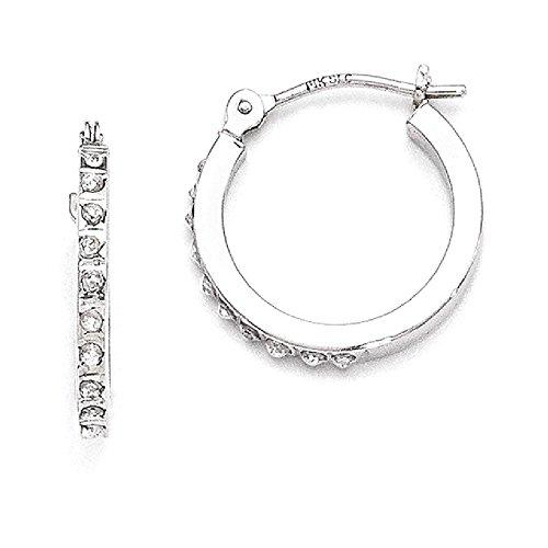 ICE CARATS 14k White Gold Diamond Fascination Hinged Hoop Earrings Ear Hoops Set Fine Jewelry Gift Set For Women (Diamond Loop)