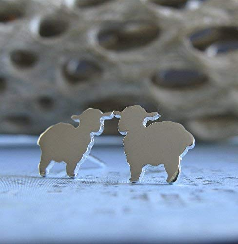 Lamb sheep stud earrings polished sterling silver post jewelry. Handmade in the USA