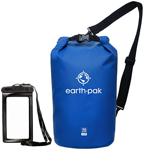Earth Pak -Waterproof Dry Bag - Roll Top Dry Compression Sack Keeps Gear Dry for Kayaking, Beach, Rafting, Boating, Hiking, Camping and Fishing with Waterproof Phone Case (Blue, 10L)