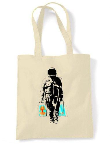 Banksy Spaceman Tote/Shoulder Bag Cream (Unbleached Cotton)
