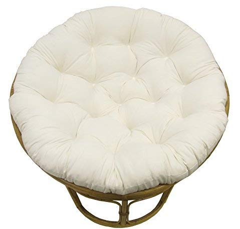 COTTON CRAFT Papasan Ivory - Overstuffed Chair Cushion, Sink into Our Thick Comfortable and Oversized Papasan, Pure 100% Cotton Duck Fabric, Fits Standard 45 inch Round Chair - Chair not Included (Cushions Swivel Chair Rattan Replacement)