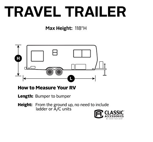 Classic Accessories OverDrive PolyPRO 3 Deluxe Travel Trailer Cover or Toy Hauler Cover, Fits 30' - 33' RVs - Max Weather Protection with 3-Ply Poly Fabric Roof Travel Trailer Cover (73663)