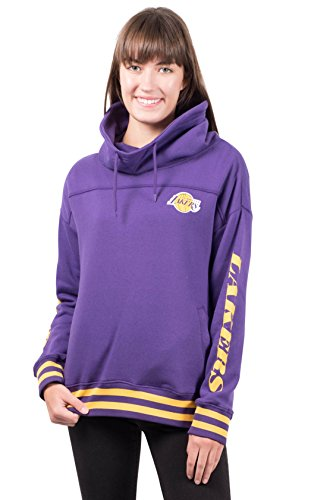 Lined Screen Print Sweatshirt - NBA Los Angeles Lakers Women's Fleece Hoodie Pullover Sweatshirt Funnel Neck, Large, Purple