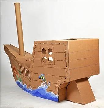 Leiterstein Piratenschiff aus Bastelkarton f/ür Indoor I Schiff aus Pappe zum Bemalen