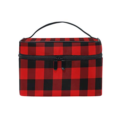 Makeup Cosmetic Bag Rustic Black Red Buffalo Check Plaid Pattern Portable Travel Train Case Toiletry Bags Organizer Multifunction - Plaid Train