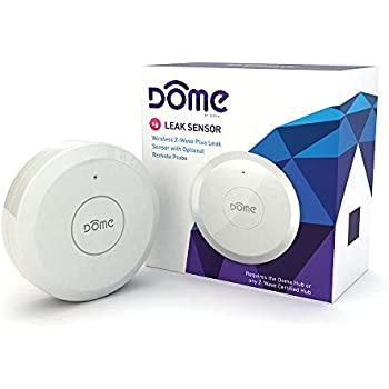 Dome Home Automation Leak Sensor Wireless Z-Wave Plus with Remote Probe, Water Resistant, White (DMWS1)
