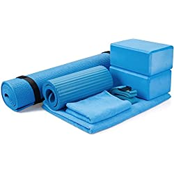 "BalanceFrom GoYoga 7-Piece Set - Include Yoga Mat with Carrying Strap, 2 Yoga Blocks, Yoga Mat Towel, Yoga Hand Towel, Yoga Strap and Yoga Knee Pad (Blue, 1/4""-Thick Mat)"