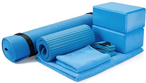 BalanceFrom GoYoga 7-Piece Set - Include Yoga Mat with Carrying Strap, 2 Yoga Blocks, Yoga Mat Towel, Yoga Hand Towel, Yoga Strap and Yoga Knee Pad (Blue, 1/4