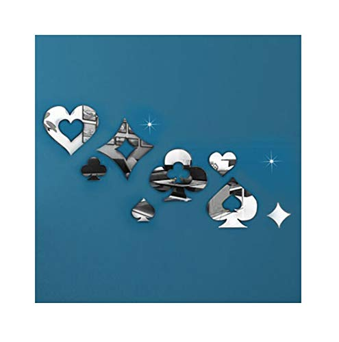 Alrens(TM)8Pcs Poker Patterns Cool Fashion Design Mirror Wall