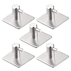5 Pcs Self-Adhesive Towel Hook Wall Hook Stainless Steel , Glue Hook Without Drilling,For Kitchen, Bathroom, Bedroom, Living Room,4.5X4.5 cm  Specification : Material: Stainless steel Color: Brushed Stainless Steel Size: 4.5X4.5 cm  Why choos...