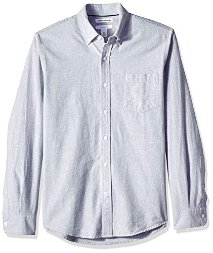 Amazon Essentials Men's Slim-Fit Long-Sleeve Solid Pocket Oxford Shirt, Grey, Large