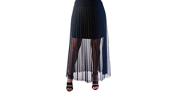 5ac6e5ae1 Yvonne Marie Women's Pleated Mesh Maxi Skirt at Amazon Women's Clothing  store: