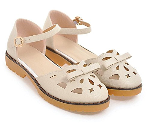 Baotou sandalias de las mujeres señoras de la manera sandalias de verano y zapatillas meters white