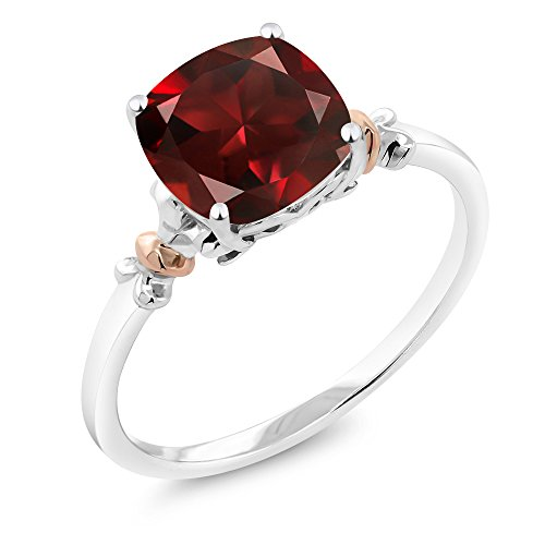 925 Sterling Silver and 10K Rose Gold Ring Red Garnet 2.74 cttw, 8x8mm Cushion (Size (Stone Garnet Ring)