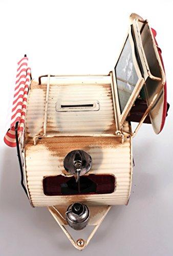 41IJC23OwjL Wohnwagen aus Metall rot mit Rahmen und Spardose Camper Auto Oldtimer Nostalgie