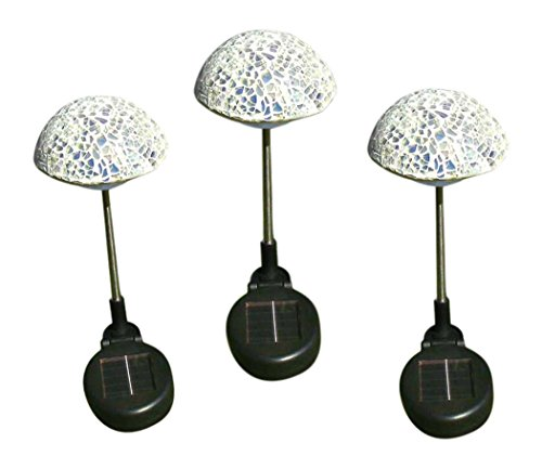 SOLAscape SN-SK-GS Solar Powered Color-Changing Mirrored Glitter-Glass Mosaic Mushroom Path Lights, Set of 3