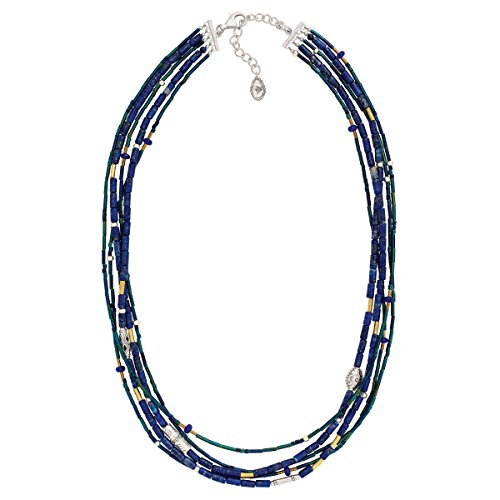 Silpada Into the Blue Natural Lapis Quartzite Multi-Strand Necklace in Sterling Silver Brass