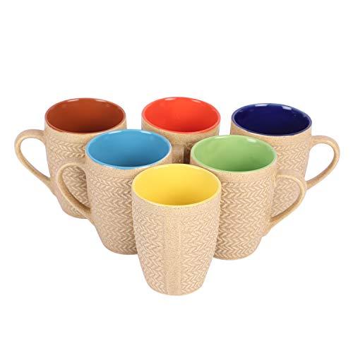 Anwaliya Gaia Series Ceramic Coffee Mugs – 6 Pieces, Textured Gold, 250 ML Price & Reviews