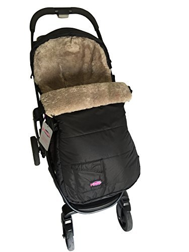 100% Australian Sheepskin Footmuff Snuggle Pod Sheepskin Black Shell with Grey Sheepskin by Funlife